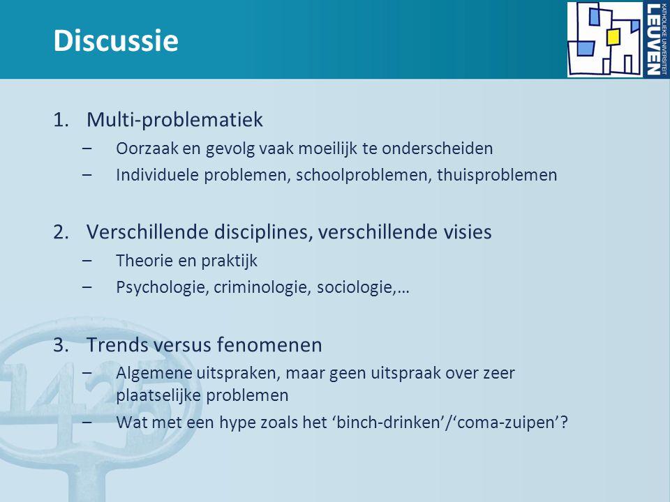 Discussie 1.Multi-problematiek –Oorzaak en gevolg vaak moeilijk te onderscheiden –Individuele problemen, schoolproblemen, thuisproblemen 2.Verschillen