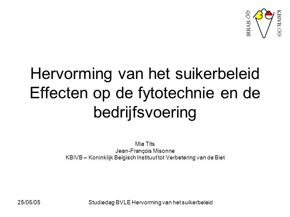 25/05/05Studiedag BVLE Hervorming van het suikerbeleid De toekomst van de bietenteelt in België - Opbrengsten : - stand van zaken en evolutie - doelstellingen voor de toekomst : verdere opbrengststijging - Kosten (inputs) : - stand van zaken en evolutie - doelstellingen voor de toekomst : kostenbeheersing - Alternatieven voor de bietenteelt - Eco-Beta