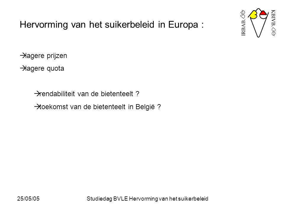 25/05/05Studiedag BVLE Hervorming van het suikerbeleid Eco-Beta : een PC-applicatie, kosteloos beschikbaar via internet, die: - de bestaande kennis over de suikerbiet en haar teeltpraktijken integreert; - statistieken opbouwt van de suikerbietenteeltpraktijken in Vlaanderen; - tijdens de teelt punctueel en interactief advies geeft voor het al dan niet uitvoeren van bepaalde teelthandelingen, dosissen, producten,… in functie van omstandigheden, rendabiliteit, milieu-invloed, enz…; - tijdens de teelt de teler de mogelijkheid biedt om zijn teeltgegevens continu te registreren op zijn PC; - tijdens en na de teelt de teler de mogelijkheid biedt om een economische en ecologische evaluatie te maken, waarbij hij gemotiveerd wordt om zich te verbeteren door de vergelijking te maken met andere, gelijkaardige situaties.