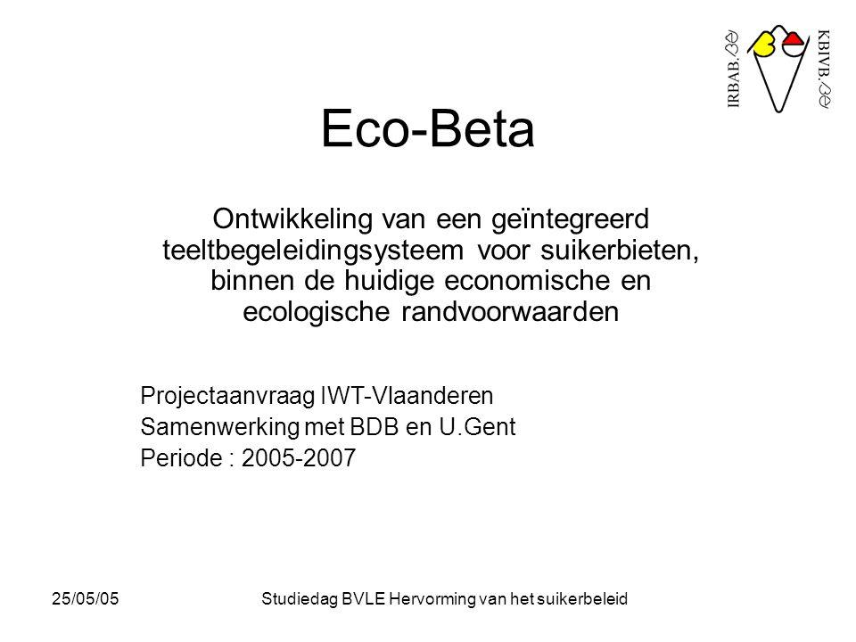 25/05/05Studiedag BVLE Hervorming van het suikerbeleid Eco-Beta Ontwikkeling van een geïntegreerd teeltbegeleidingsysteem voor suikerbieten, binnen de huidige economische en ecologische randvoorwaarden Projectaanvraag IWT-Vlaanderen Samenwerking met BDB en U.Gent Periode : 2005-2007