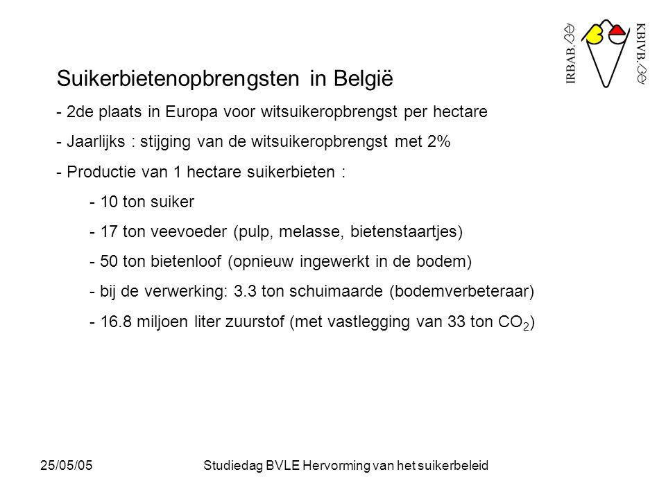 25/05/05Studiedag BVLE Hervorming van het suikerbeleid Suikerbietenopbrengsten in België - 2de plaats in Europa voor witsuikeropbrengst per hectare - Jaarlijks : stijging van de witsuikeropbrengst met 2% - Productie van 1 hectare suikerbieten : - 10 ton suiker - 17 ton veevoeder (pulp, melasse, bietenstaartjes) - 50 ton bietenloof (opnieuw ingewerkt in de bodem) - bij de verwerking: 3.3 ton schuimaarde (bodemverbeteraar) - 16.8 miljoen liter zuurstof (met vastlegging van 33 ton CO 2 )