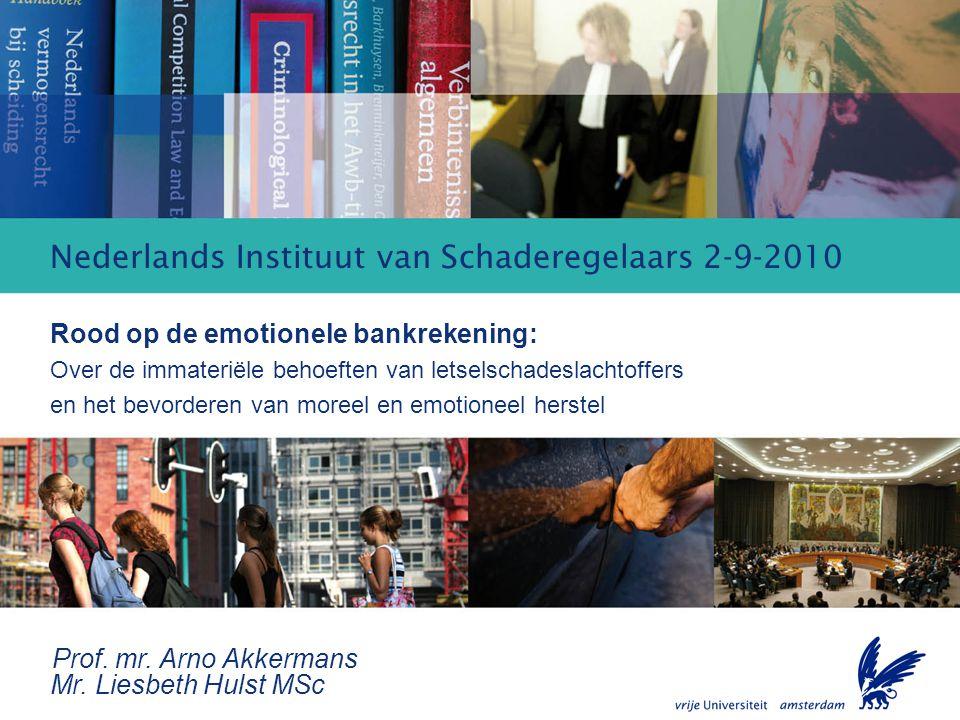 Rood op de emotionele bankrekening Nederlands Instituut van Schaderegelaars 2-9-2010 Rood op de emotionele bankrekening: Over de immateriële behoeften