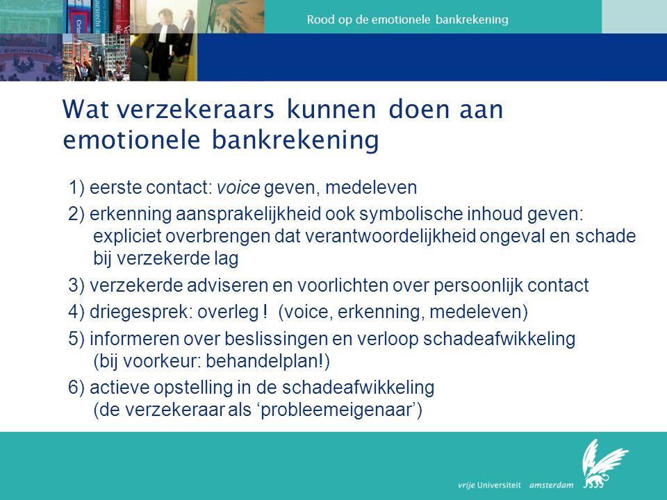 Rood op de emotionele bankrekening Wat verzekeraars kunnen doen aan emotionele bankrekening 1) eerste contact: voice geven, medeleven 2) erkenning aan