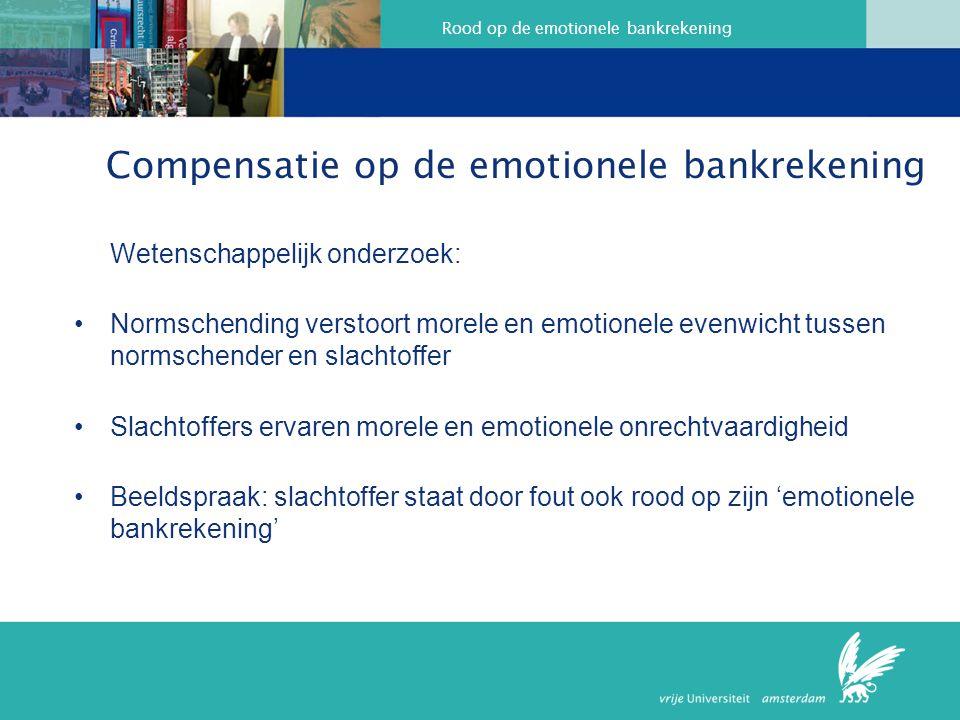 Rood op de emotionele bankrekening Compensatie op de emotionele bankrekening Wetenschappelijk onderzoek: Normschending verstoort morele en emotionele