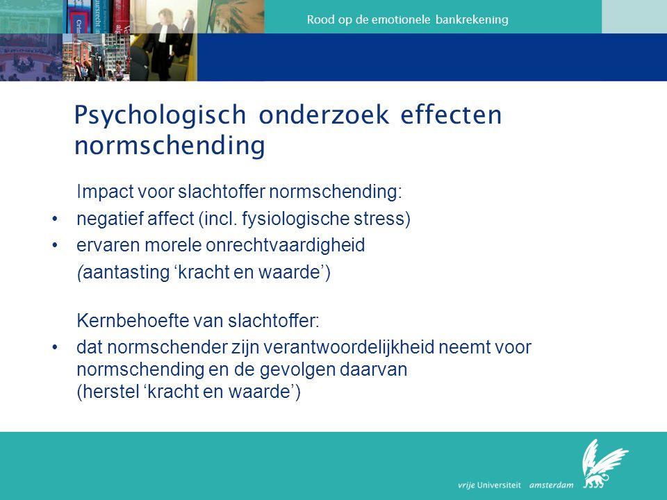 Rood op de emotionele bankrekening Psychologisch onderzoek effecten normschending Impact voor slachtoffer normschending: negatief affect (incl. fysiol