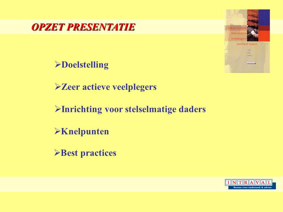 OPZET PRESENTATIE  Doelstelling  Zeer actieve veelplegers  Inrichting voor stelselmatige daders  Knelpunten  Best practices