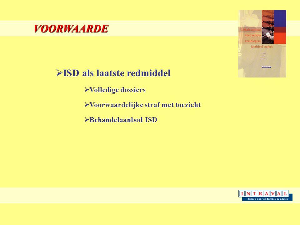 VOORWAARDE  ISD als laatste redmiddel  Volledige dossiers  Voorwaardelijke straf met toezicht  Behandelaanbod ISD