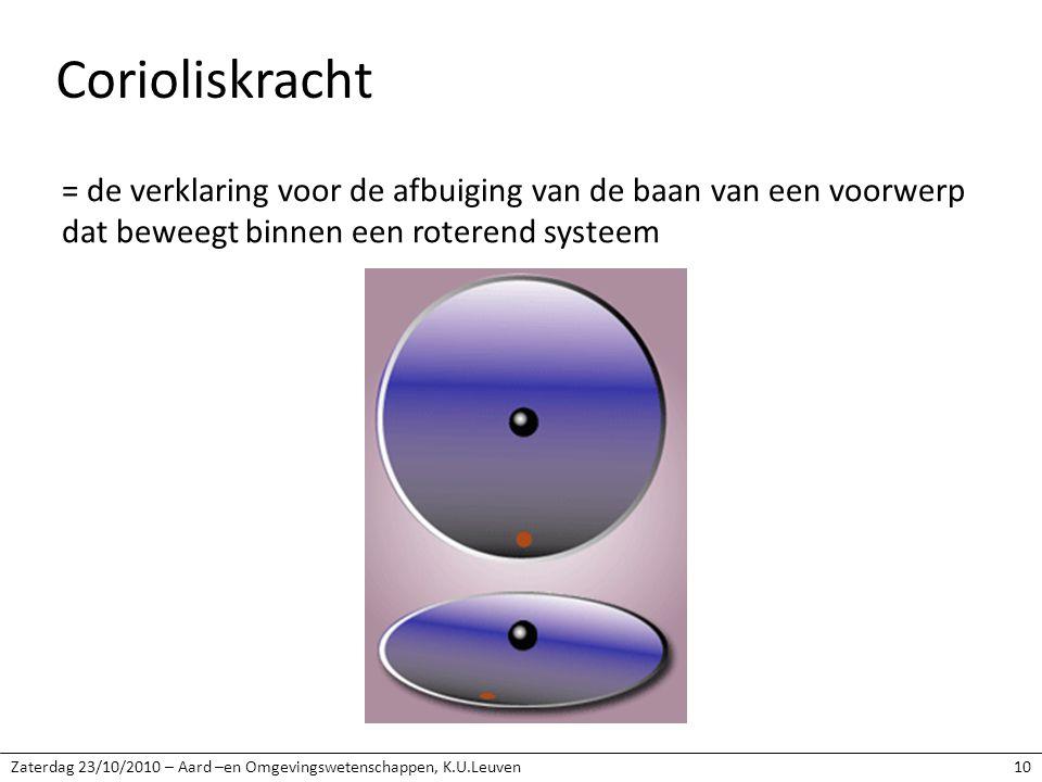 Zaterdag 23/10/2010 – Aard –en Omgevingswetenschappen, K.U.Leuven10 Corioliskracht = de verklaring voor de afbuiging van de baan van een voorwerp dat beweegt binnen een roterend systeem