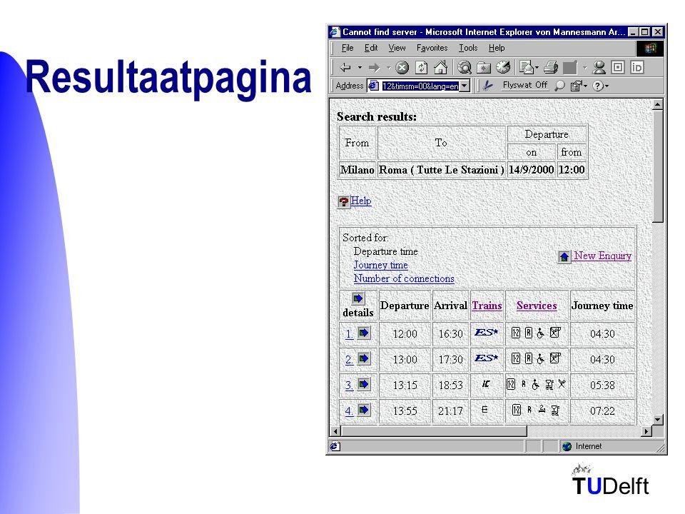 TUDelft Overzicht  Probleemstelling  Reisplanners  Agents  SMART –Representatie van invoer –HTML Framework –Tester –Interface naar de Agent  Voorbeeld agent  Conclusie