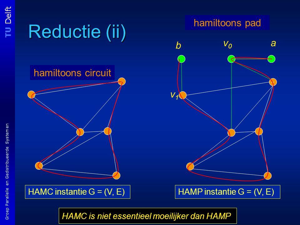TU Delft Groep Parallelle en Gedistribueerde Systemen Reductie (ii) HAMC instantie G = (V, E) v1v1 v0v0 a b hamiltoons circuit hamiltoons pad HAMP instantie G = (V, E) HAMC is niet essentieel moeilijker dan HAMP
