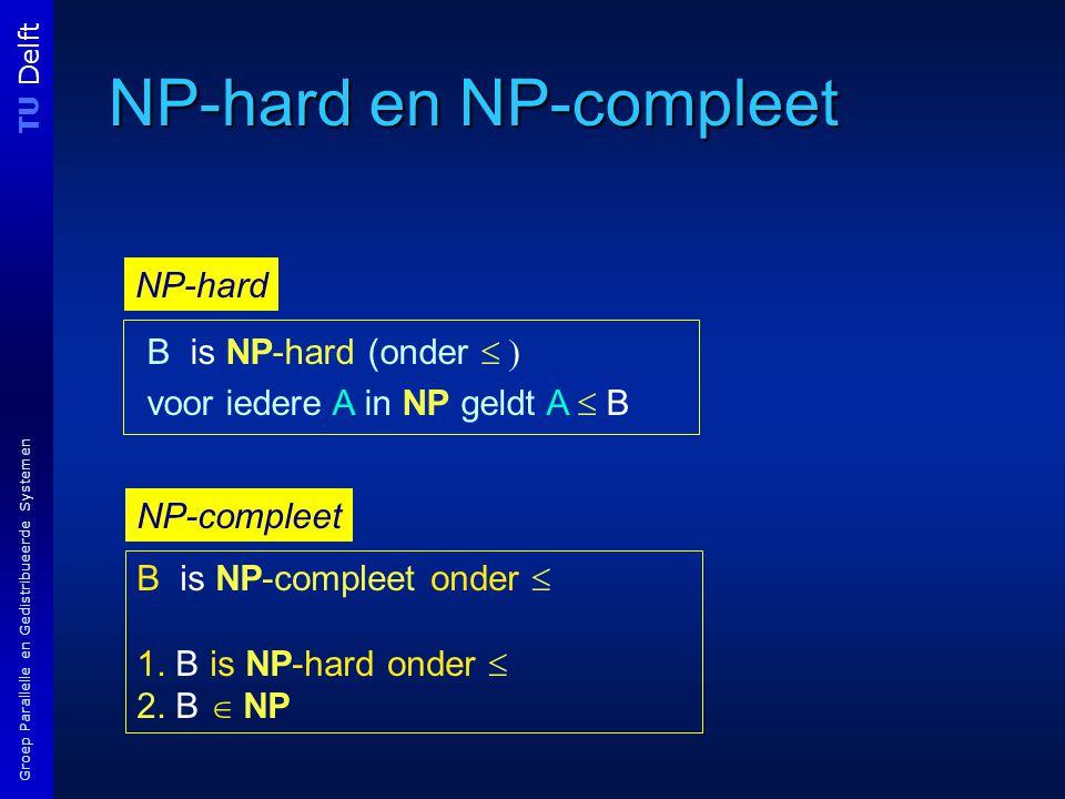 TU Delft Groep Parallelle en Gedistribueerde Systemen NP-hard en NP-compleet B is NP-hard (onder  voor iedere A in NP geldt A  B B is NP-compleet onder  1.
