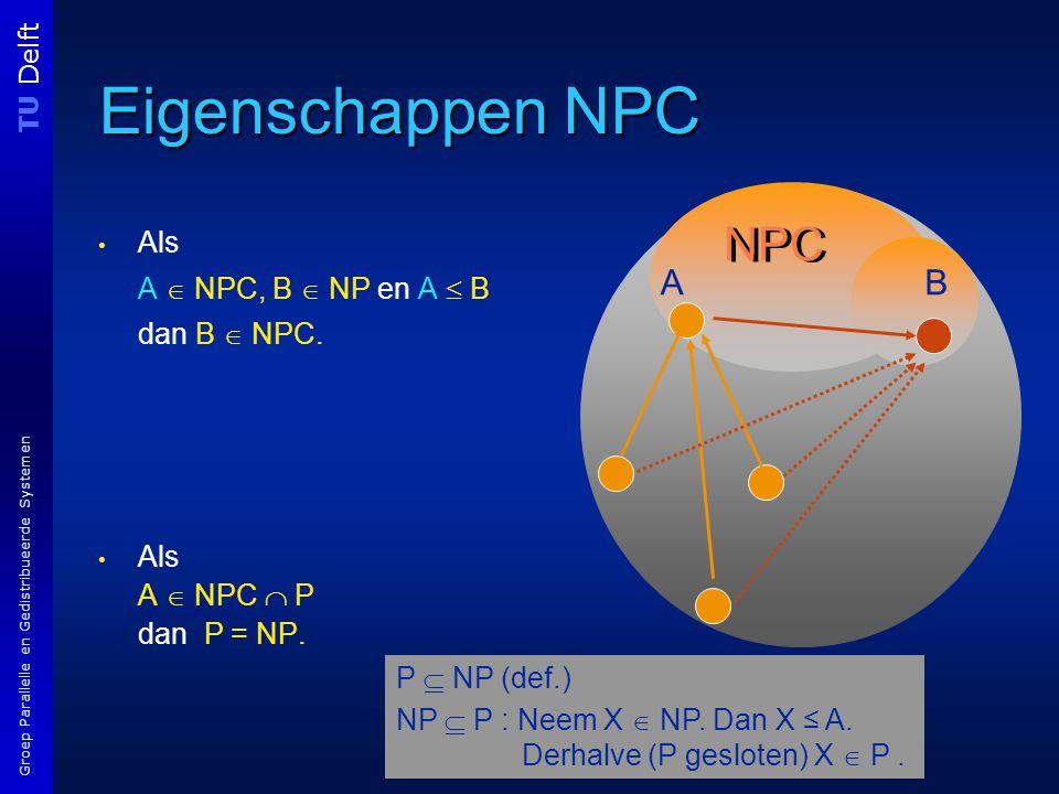 TU Delft Groep Parallelle en Gedistribueerde Systemen Eigenschappen NPC Als A  NPC, B  NP en A  B dan B  NPC.