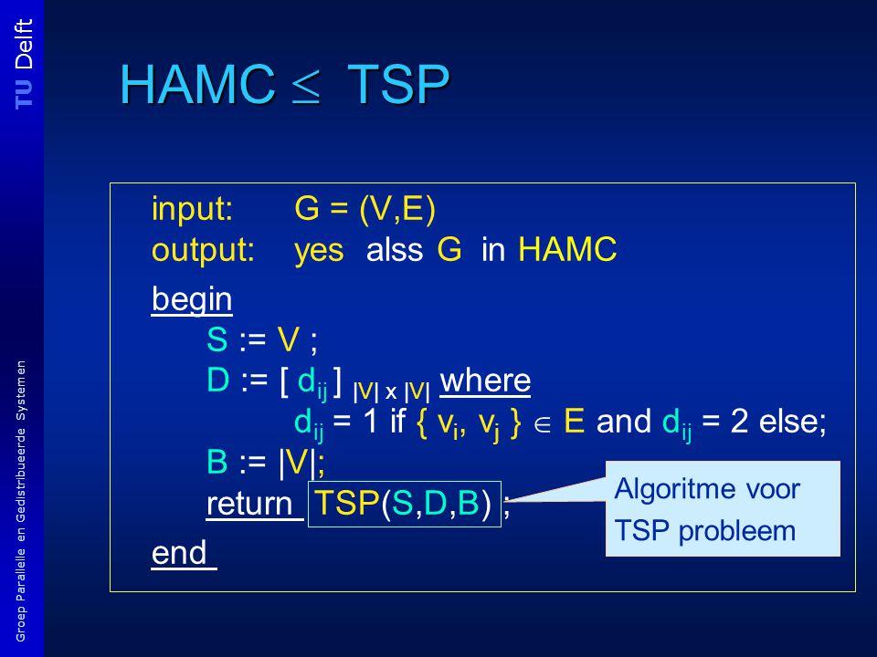 TU Delft Groep Parallelle en Gedistribueerde Systemen HAMC  TSP input: G = (V,E) output: yes alss G in HAMC begin S := V ; D := [ d ij ] |V| x |V| where d ij = 1 if { v i, v j }  E and d ij = 2 else; B := |V|; return TSP(S,D,B) ; end Algoritme voor TSP probleem