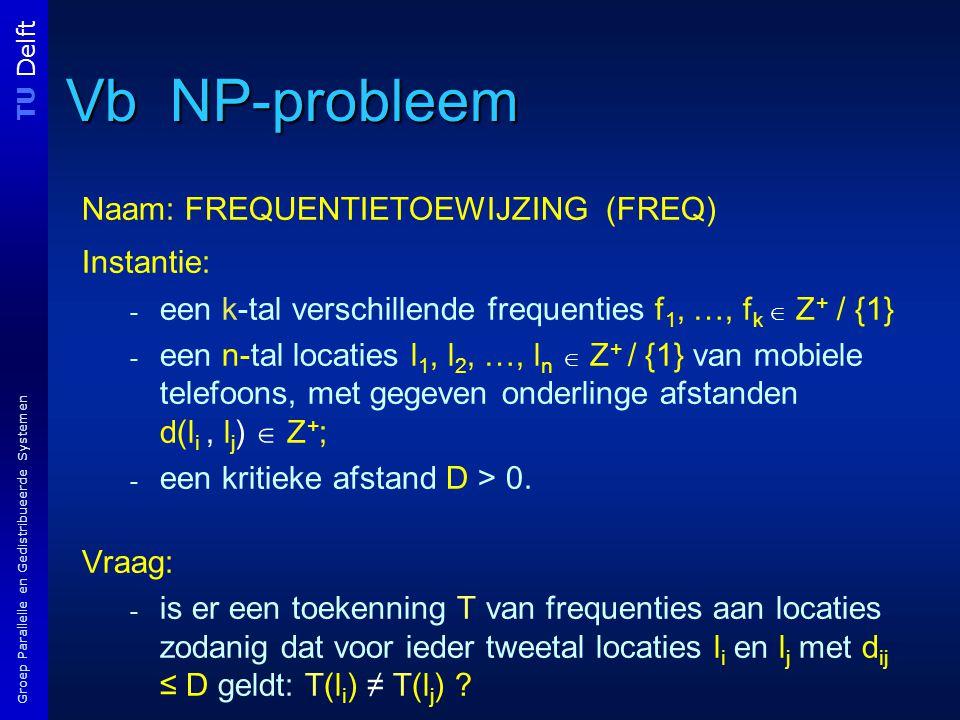 TU Delft Groep Parallelle en Gedistribueerde Systemen Vb NP-probleem Naam: FREQUENTIETOEWIJZING (FREQ) Instantie: - een k-tal verschillende frequenties f 1, …, f k  Z + / {1} - een n-tal locaties l 1, l 2, …, l n  Z + / {1} van mobiele telefoons, met gegeven onderlinge afstanden d(l i, l j )  Z + ; - een kritieke afstand D > 0.
