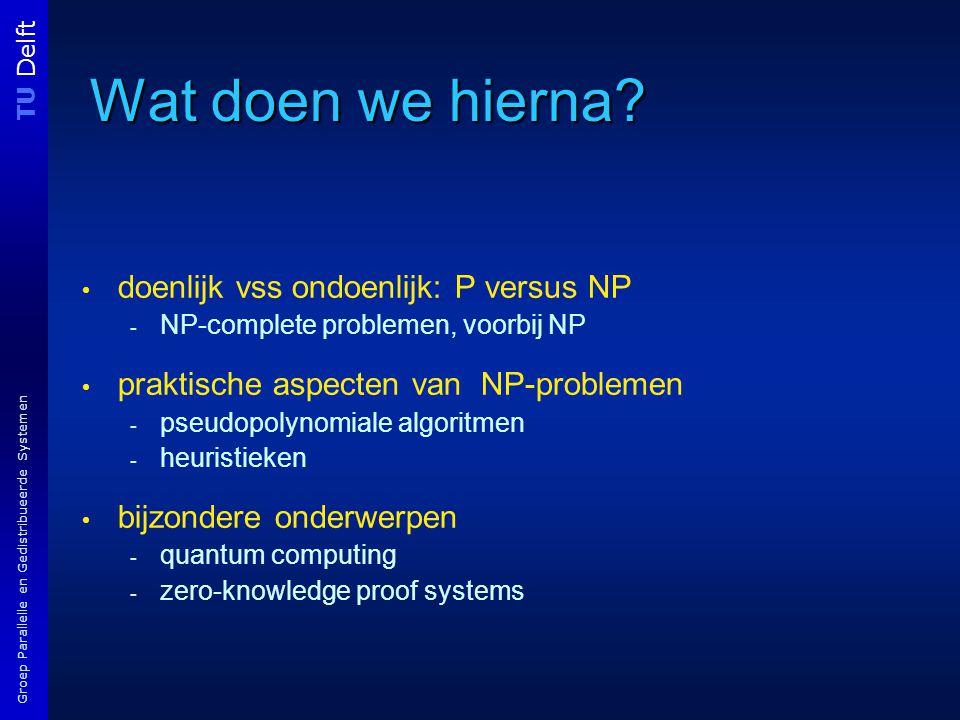 TU Delft Groep Parallelle en Gedistribueerde Systemen Wat doen we hierna.
