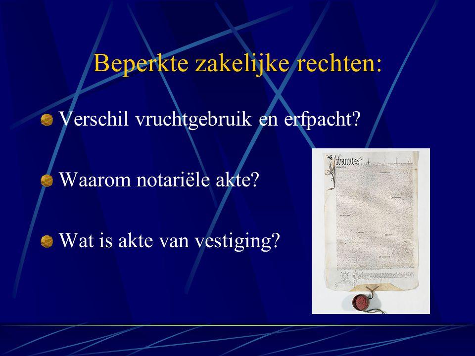 Beperkte zakelijke rechten: Verschil vruchtgebruik en erfpacht? Waarom notariële akte? Wat is akte van vestiging?
