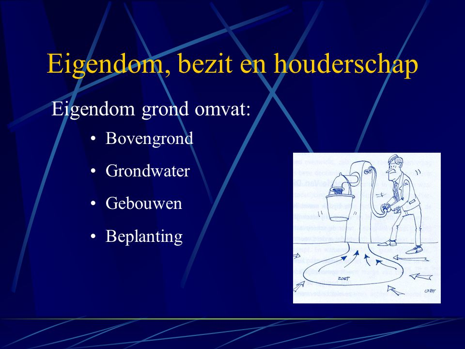 Eigendom, bezit en houderschap Eigendom grond omvat: Bovengrond Grondwater Gebouwen Beplanting