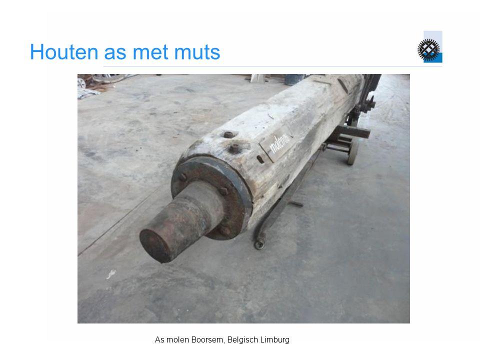 Houten as met muts As molen Boorsem, Belgisch Limburg