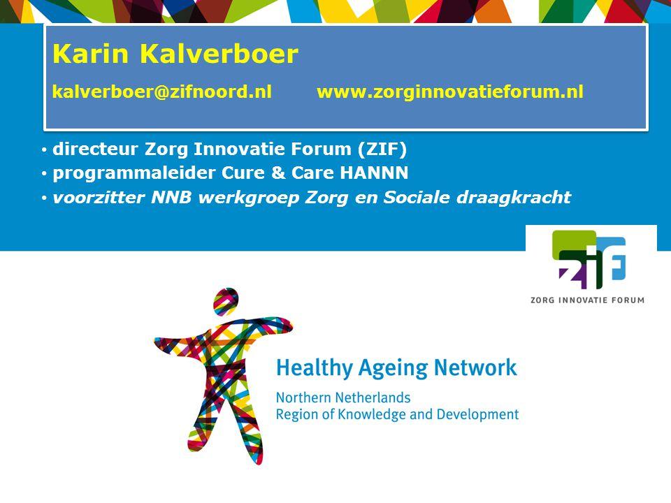 directeur Zorg Innovatie Forum (ZIF) programmaleider Cure & Care HANNN voorzitter NNB werkgroep Zorg en Sociale draagkracht Karin Kalverboer kalverboe