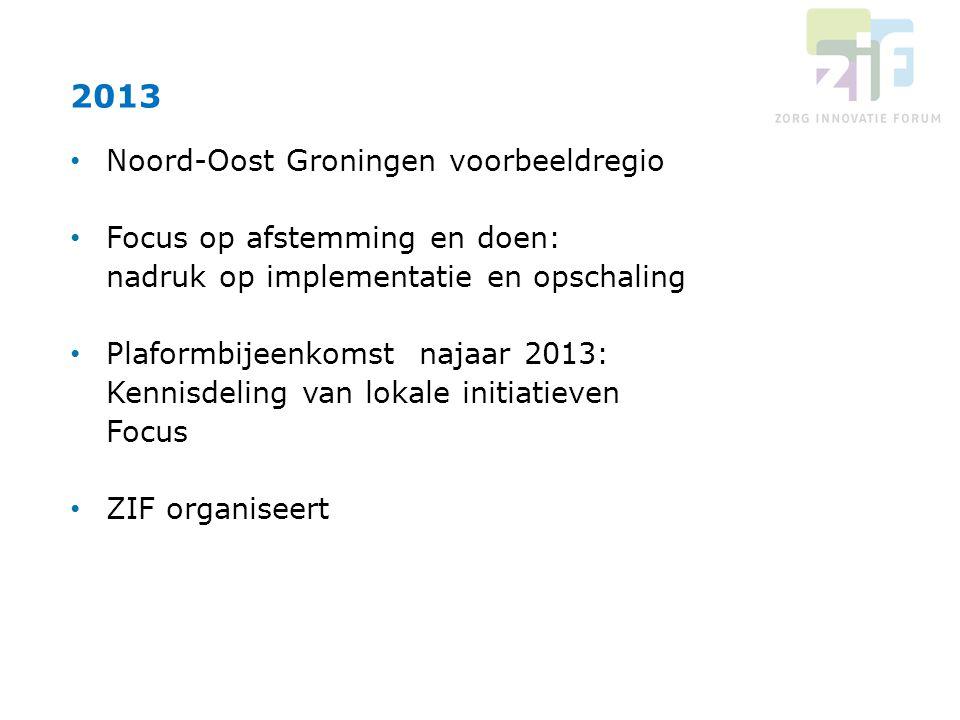 Noord-Oost Groningen voorbeeldregio Focus op afstemming en doen: nadruk op implementatie en opschaling Plaformbijeenkomst najaar 2013: Kennisdeling va