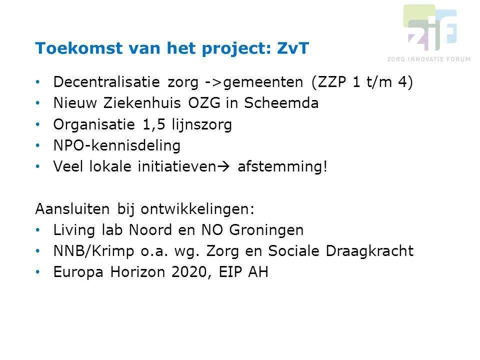 Decentralisatie zorg ->gemeenten (ZZP 1 t/m 4) Nieuw Ziekenhuis OZG in Scheemda Organisatie 1,5 lijnszorg NPO-kennisdeling Veel lokale initiatieven 