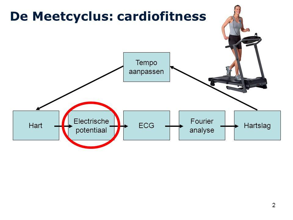 Cardiovascular Research Institute Maastricht (CARIM) 2 De Meetcyclus: cardiofitness Hart Electrische potentiaal ECG Fourier analyse Hartslag Tempo aanpassen