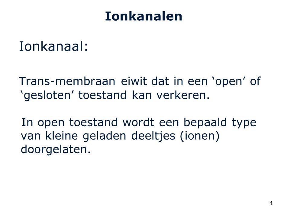 Cardiovascular Research Institute Maastricht (CARIM) 4 Ionkanalen Ionkanaal: Trans-membraan eiwit dat in een 'open' of 'gesloten' toestand kan verkeren.