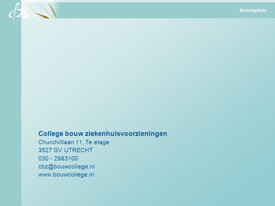 College bouw ziekenhuisvoorzieningen Churchilllaan 11, 7e etage 3527 GV UTRECHT 030 - 2983100 cbz@bouwcollege.nl www.bouwcollege.nl