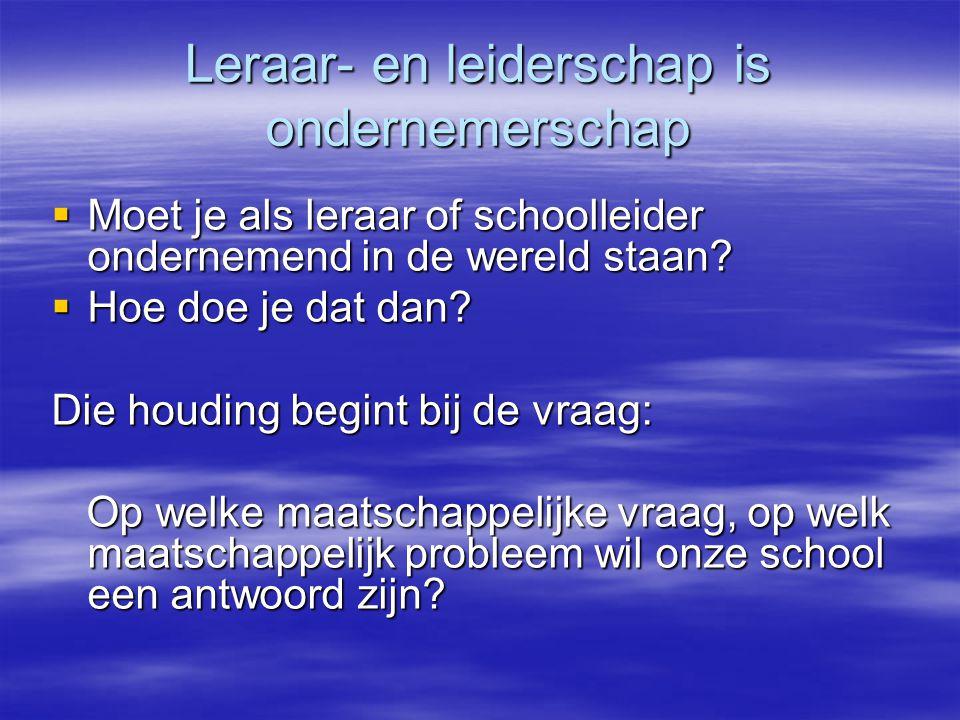 Leraar- en leiderschap is ondernemerschap  Moet je als leraar of schoolleider ondernemend in de wereld staan.