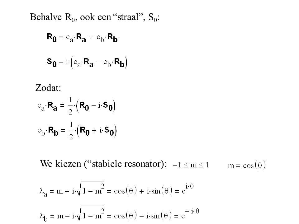 """Behalve R 0, ook een """"straal"""", S 0 : Zodat: We kiezen (""""stabiele resonator):"""