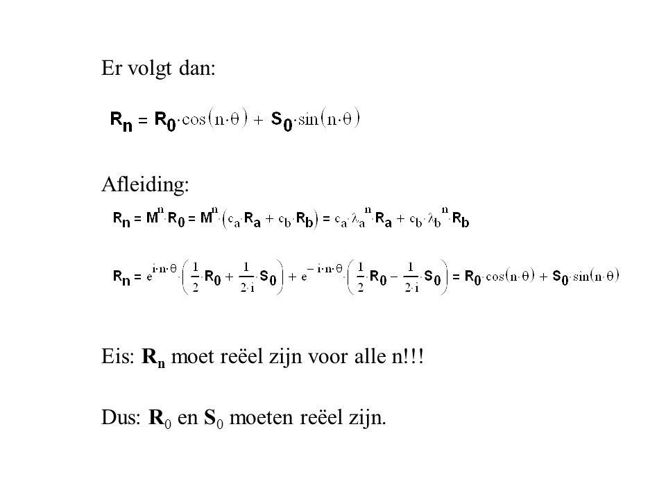 Er volgt dan: Afleiding: Eis: R n moet reëel zijn voor alle n!!! Dus: R 0 en S 0 moeten reëel zijn.