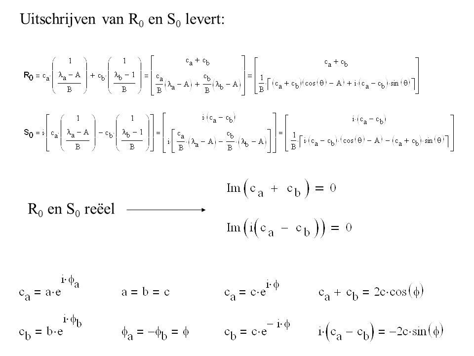 R 0 en S 0 reëel Uitschrijven van R 0 en S 0 levert: