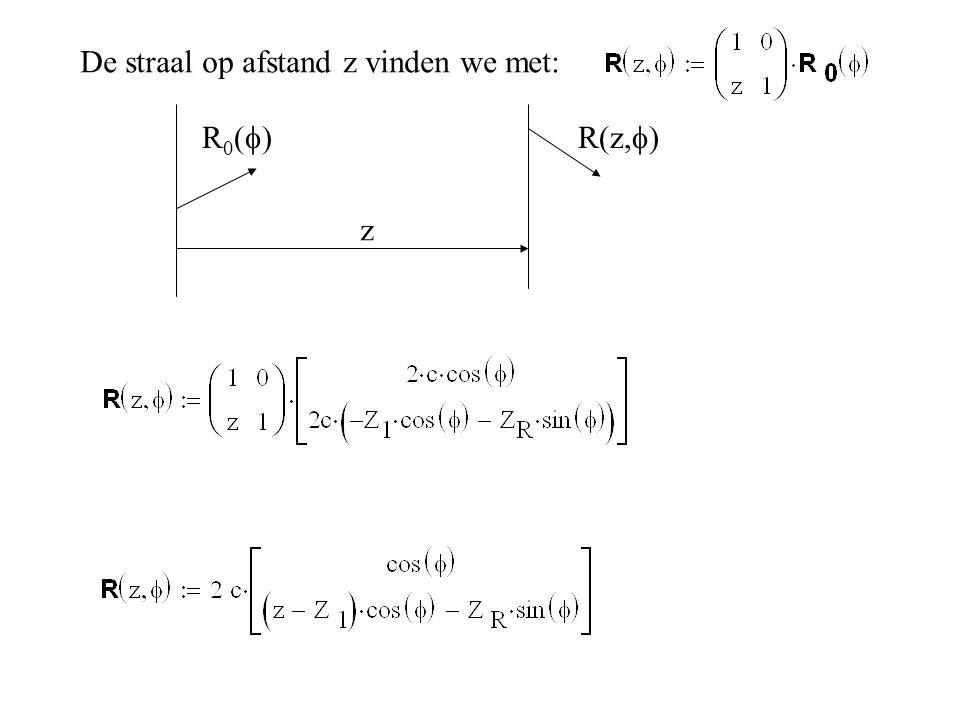 De straal op afstand z vinden we met: R 0 (  R(z,  ) z