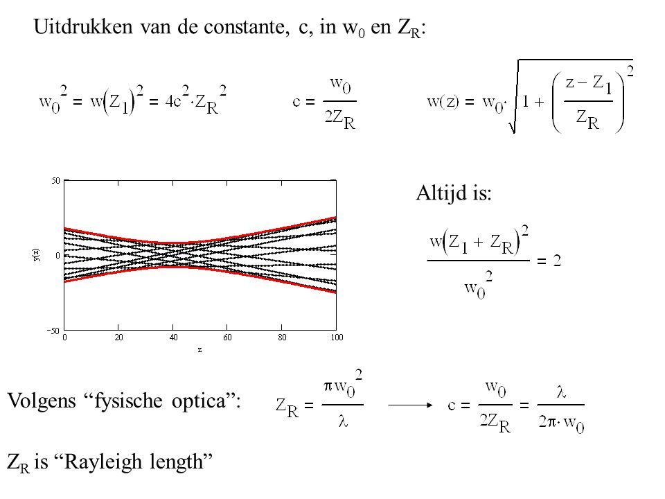 """Uitdrukken van de constante, c, in w 0 en Z R : Altijd is: Volgens """"fysische optica"""": Z R is """"Rayleigh length"""""""