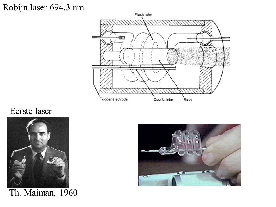 Eerste laser Th. Maiman, 1960 Robijn laser 694.3 nm