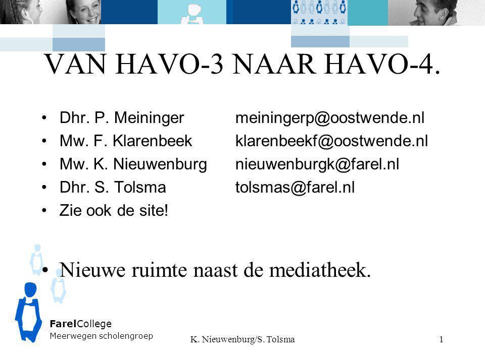 FarelCollege Meerwegen scholengroep VAN HAVO-3 NAAR HAVO-4. Dhr. P. Meiningermeiningerp@oostwende.nl Mw. F. Klarenbeekklarenbeekf@oostwende.nl Mw. K.