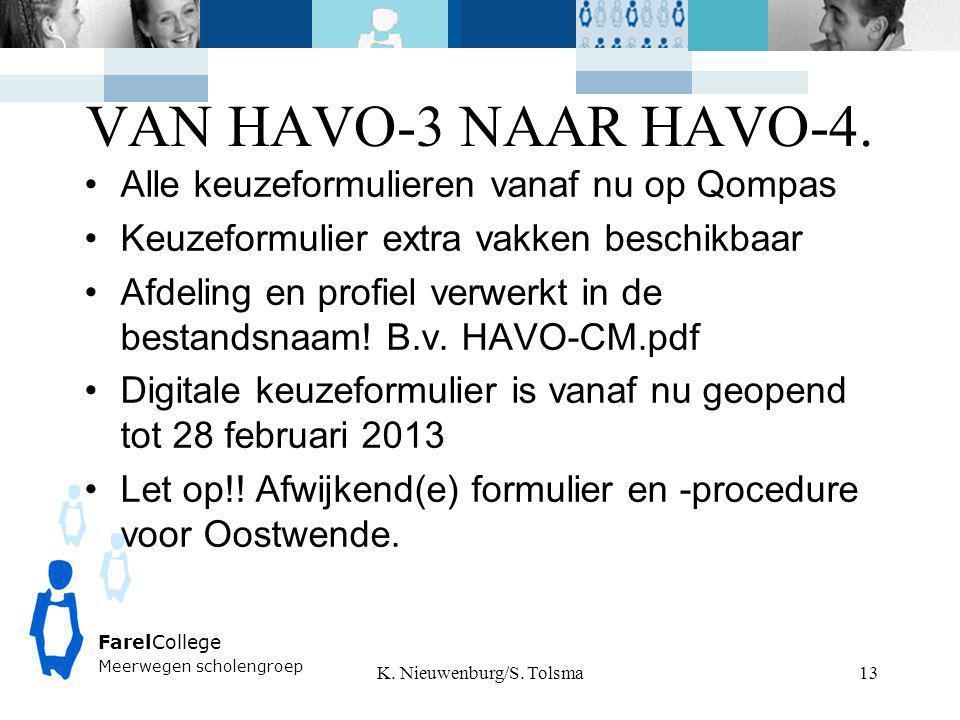 VAN HAVO-3 NAAR HAVO-4. K. Nieuwenburg/S. Tolsma FarelCollege Meerwegen scholengroep 13 Alle keuzeformulieren vanaf nu op Qompas Keuzeformulier extra