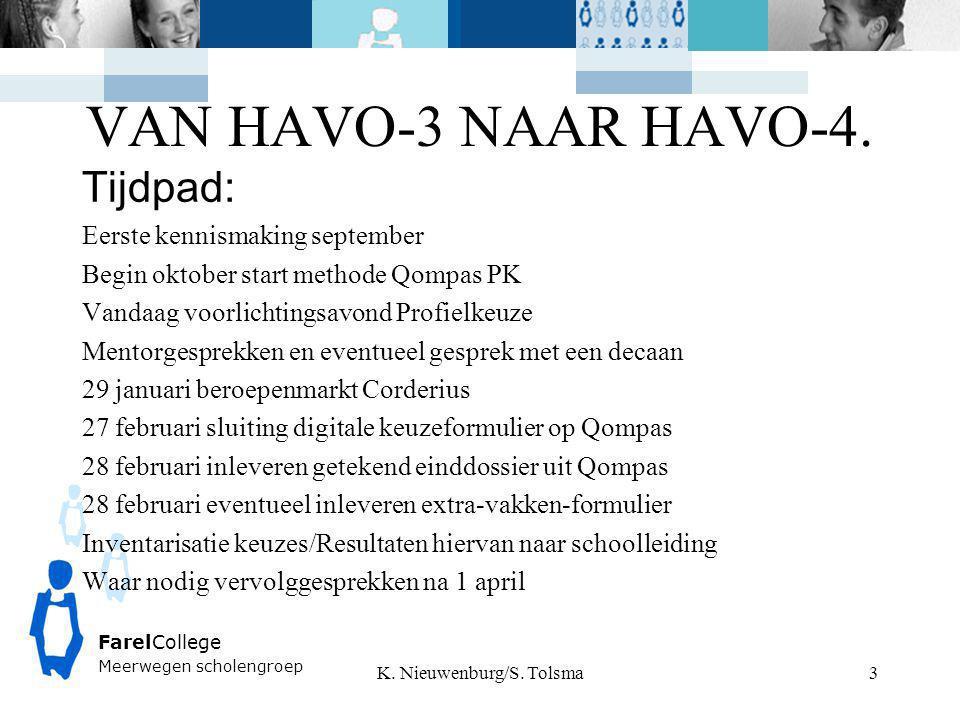 FarelCollege Meerwegen scholengroep VAN HAVO-3 NAAR HAVO-4. K. Nieuwenburg/S. Tolsma 3 Tijdpad: Eerste kennismaking september Begin oktober start meth