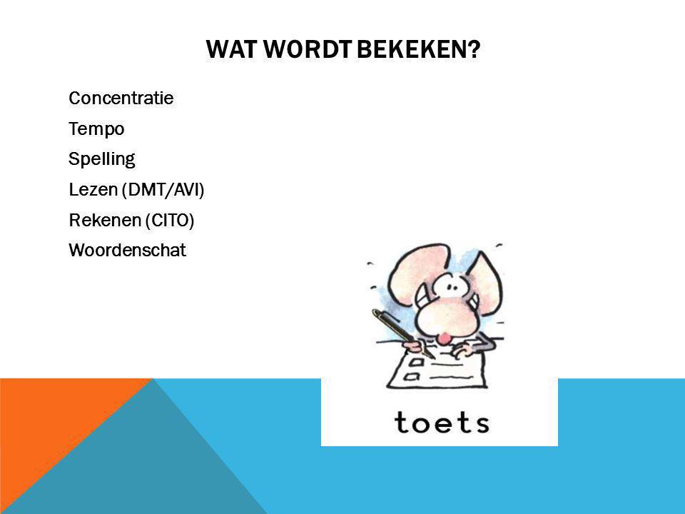 WAT WORDT BEKEKEN? Concentratie Tempo Spelling Lezen (DMT/AVI) Rekenen (CITO) Woordenschat