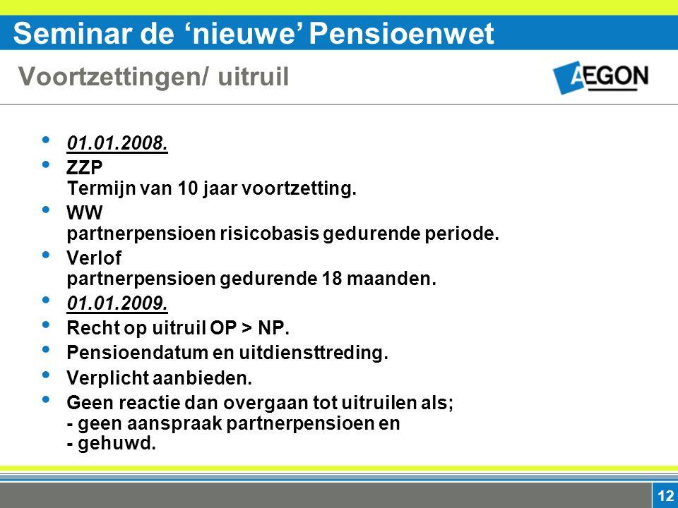 Seminar de 'nieuwe' Pensioenwet 12 Voortzettingen/ uitruil 01.01.2008.