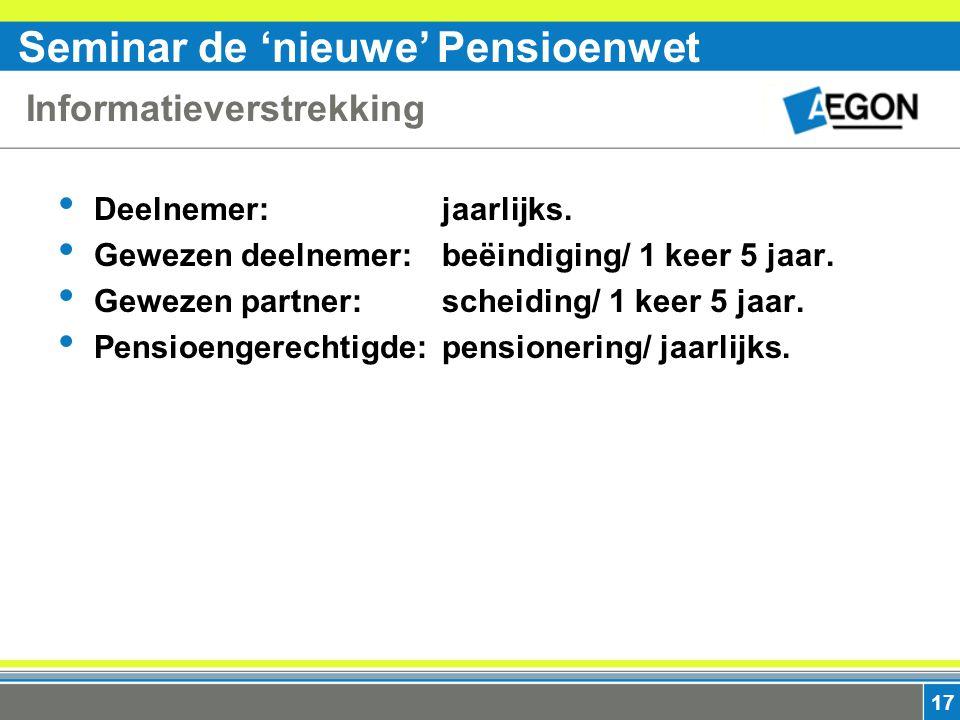 Seminar de 'nieuwe' Pensioenwet 17 Informatieverstrekking Deelnemer:jaarlijks.