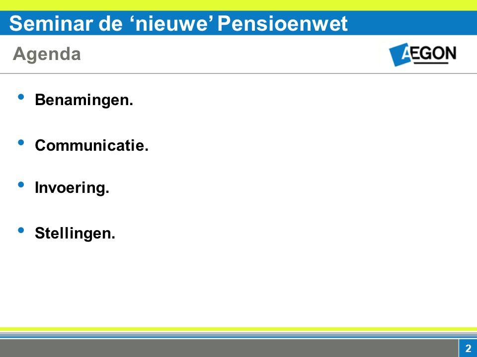 Seminar de 'nieuwe' Pensioenwet 2 Agenda Benamingen. Communicatie. Invoering. Stellingen.