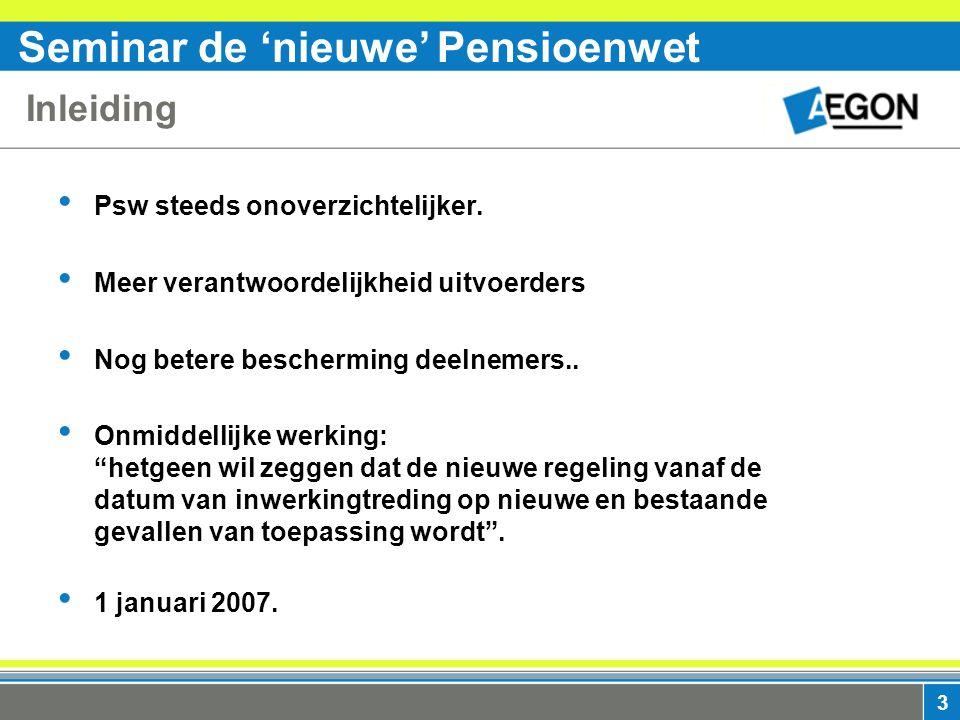Seminar de 'nieuwe' Pensioenwet 3 Inleiding Psw steeds onoverzichtelijker.