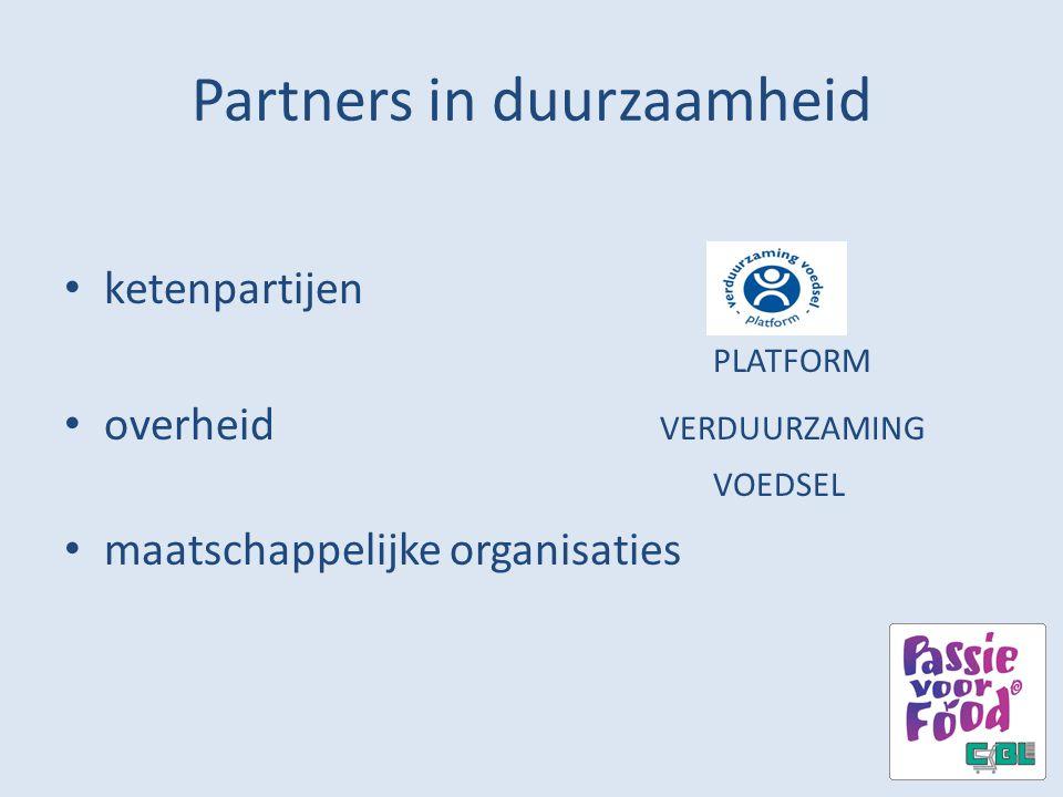 Partners in duurzaamheid ketenpartijen PLATFORM overheid VERDUURZAMING VOEDSEL maatschappelijke organisaties