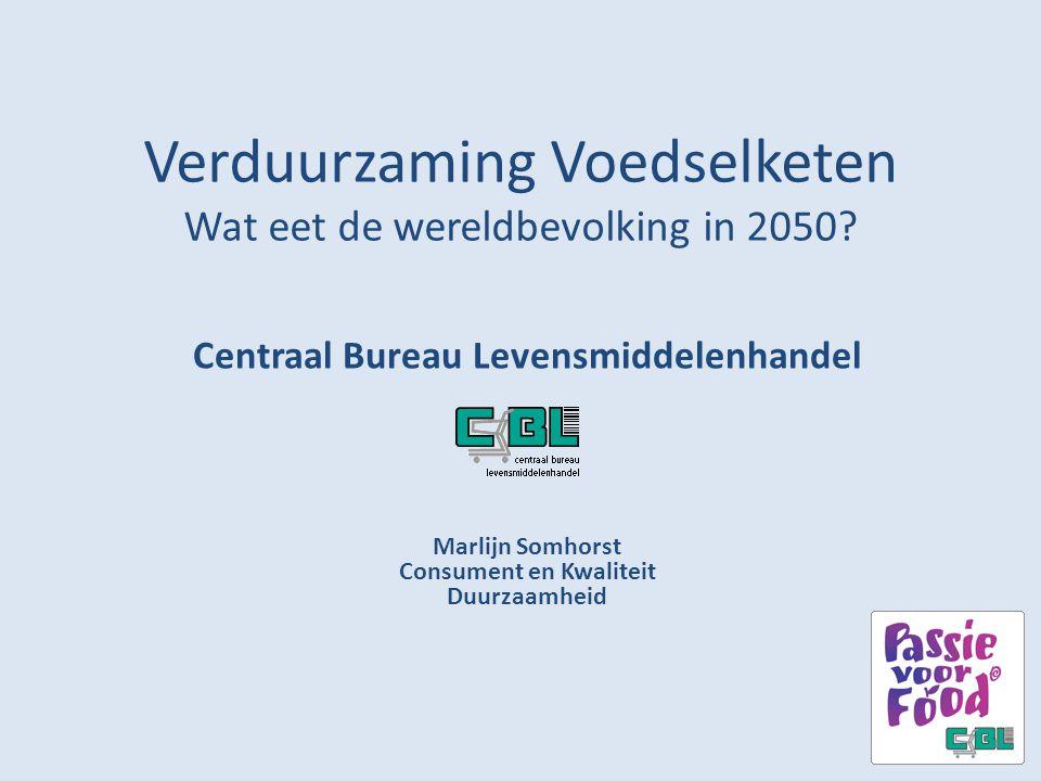 Verduurzaming Voedselketen Wat eet de wereldbevolking in 2050? Centraal Bureau Levensmiddelenhandel Marlijn Somhorst Consument en Kwaliteit Duurzaamhe
