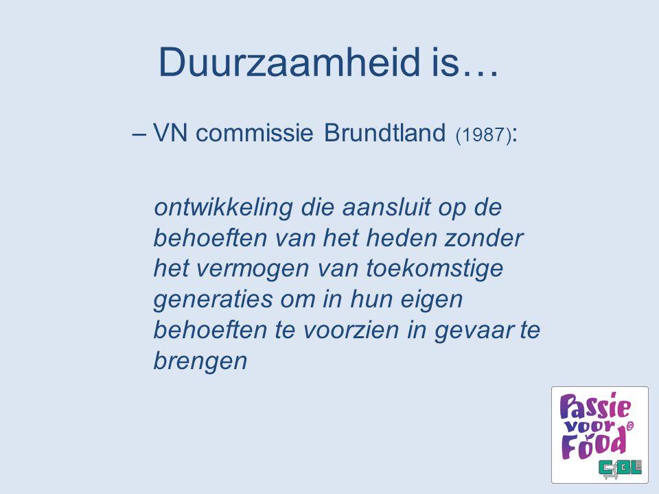 Duurzaamheid is… –VN commissie Brundtland (1987) : ontwikkeling die aansluit op de behoeften van het heden zonder het vermogen van toekomstige generat