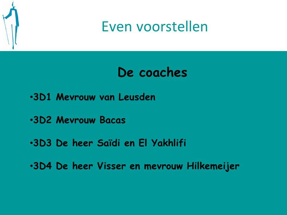 Even voorstellen De coaches 3D1 Mevrouw van Leusden 3D2 Mevrouw Bacas 3D3 De heer Saïdi en El Yakhlifi 3D4 De heer Visser en mevrouw Hilkemeijer