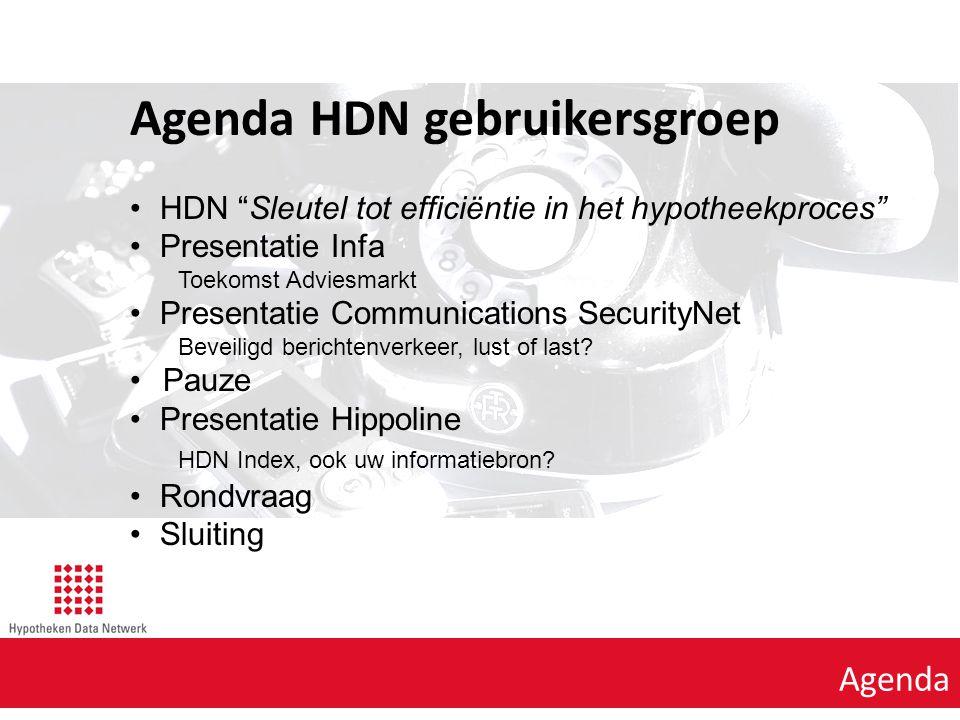 Agenda punt 1 Agenda Agenda HDN gebruikersgroep HDN Sleutel tot efficiëntie in het hypotheekproces Presentatie Infa Toekomst Adviesmarkt Presentatie Communications SecurityNet Beveiligd berichtenverkeer, lust of last.