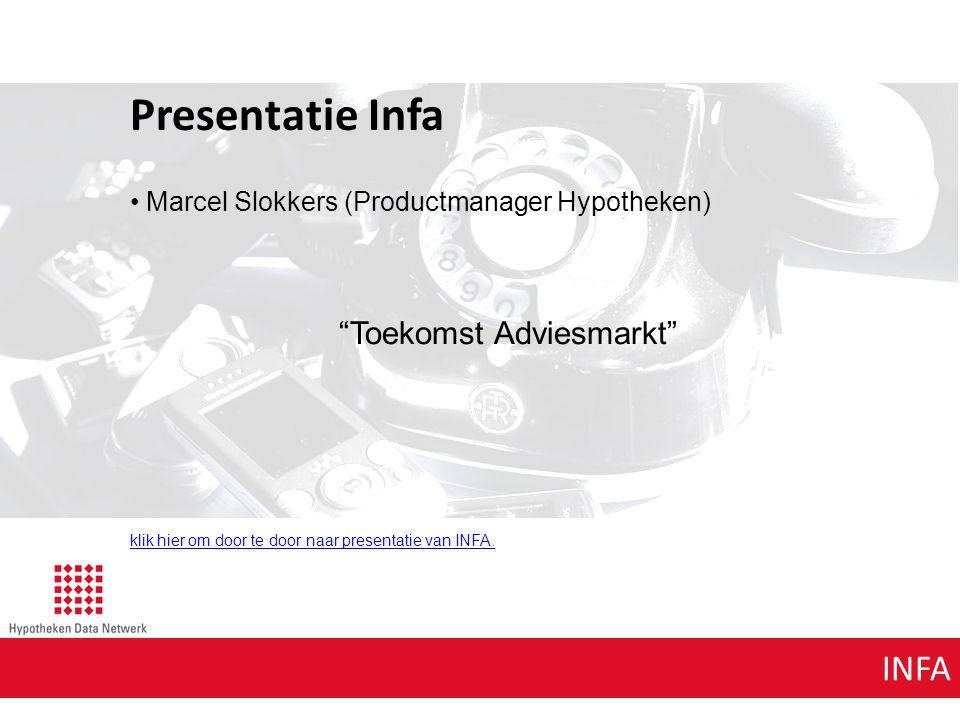 INFA Presentatie Infa Marcel Slokkers (Productmanager Hypotheken) Toekomst Adviesmarkt klik hier om door te door naar presentatie van INFA.