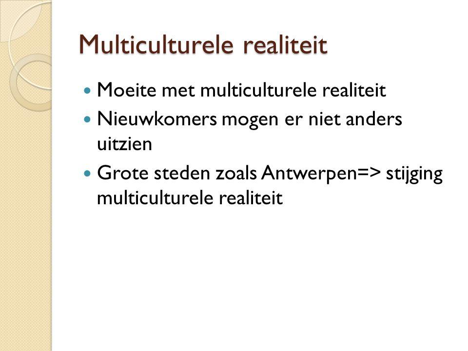Multiculturele realiteit Moeite met multiculturele realiteit Nieuwkomers mogen er niet anders uitzien Grote steden zoals Antwerpen=> stijging multiculturele realiteit